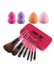 7 Pcs Makeup Brushes Set with Iron Box + Makeup Sponges - ROSE RED