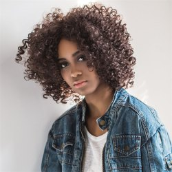 Oblique Parting Medium Shaggy Curly Synthetic Wig