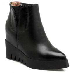 Hidden Wedge Elastic Band Ankle Boots - BLACK