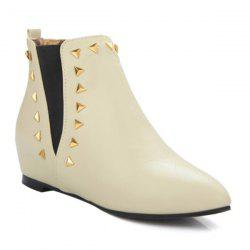 Pointed Toe Triangle Rivet Ankle Boots
