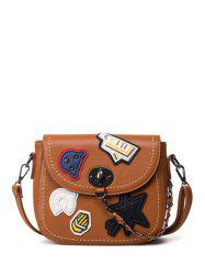 Chains Stitching Patches Crossbody Bag