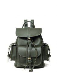 Stitching Multi Pockets Buckle Straps Backpack -