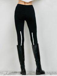 Elastic High Waist Leggings with Zippers - BLACK