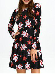 Christmas Santa Claus Skater Dress with Long Sleeves - BLACK
