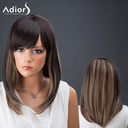 Adiors Hair Medium Side Bang Straight Colormix Synthetic Wig -
