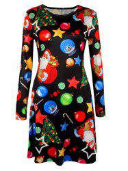 Knee Length Christmas Tree Star Dress - BLACK