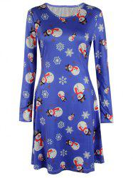 Knee Length Long Sleeve Christmas Snowman Dress