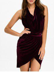 Halter Ruched Velour Mini Backless Bandage Dress