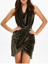Halter Ruched Velour Mini Backless Bandage Dress - ARMY GREEN