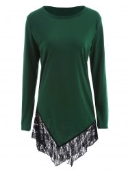 Lace Panel Asymmetric Tunic T-Shirt