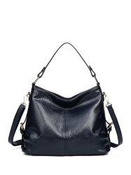 Double Buckle Textured Leather Metal Tote Bag