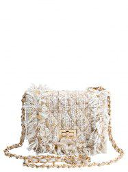 Twist-Lock Closure Chain Argyle Crossbody Bag - OFF-WHITE