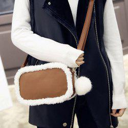 Plush Panel Pompon Crossbody Bag