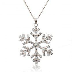 Christmas Snowflake Pendant Sweater Necklace Chain -