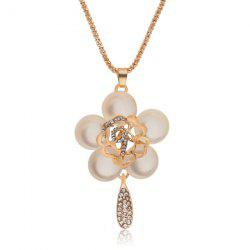Faux Opal Gem Hollow Out Floral Pendant Sweater Chain -