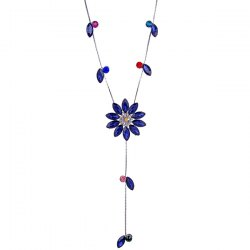 Floral Faux Crystal Sweater Chain - BLUE