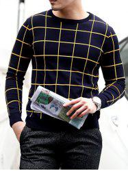 Slim Fit Crew Neck Grid Sweater