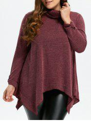 Turtleneck Asymmetric Plus Size Sweater - Rouge vineux 3XL