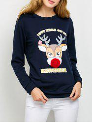 Pom Ball Christmas Reindeer Drop Shoulder Sweatshirt