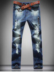 Mid Rise Zip Fly Ripped Denim Jeans