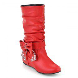 PU Leather Bowknot Ruched Mid Calf Boots