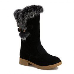 Faux Fur Panel Buckle Strap Snow Boots - BLACK