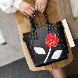Faux Leather Flower Tote Bag -