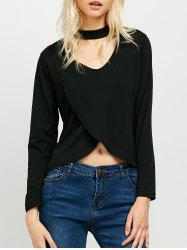 High Low Long Sleeve Choker T-Shirt