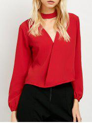 Long Sleeve Surplice Choker Blouse