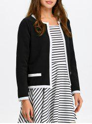 Contrast Trim Open Front Jacket - BLACK