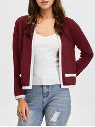 Contrast Trim Open Front Jacket - WINE RED