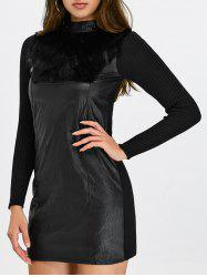 High Neck Faux Leather Insert Long Sleeve Bodycon Dress -