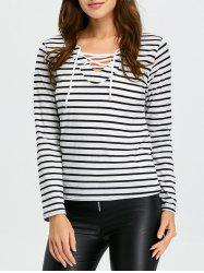 Long Sleeve Lace-Up Striped T-Shirt