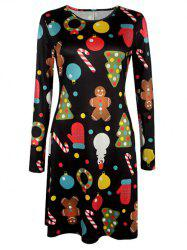 Knee Length Christmas Patterned Dress - BLACK