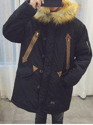 Furry Hood Zipper Design Longline Padded Coat