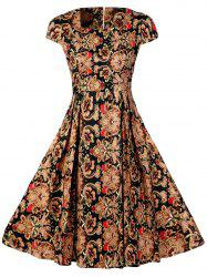 Square Neck Printed High Waist A Line Dress
