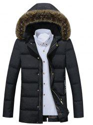 Detachable Furry Hood Thicken Zip Up Down Coat