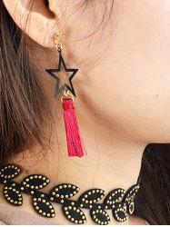Hollowed Star Tassel Drop Earrings