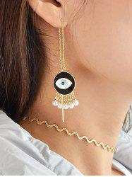 Eye Fake Pearl Tassel Drop Earrings