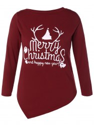 Asymmetrical Christmas Tee - WINE RED M