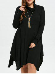 Plus Size Cowl Neck Asymmetric Dress -
