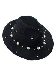Fake Pearl Felt Floppy Hat