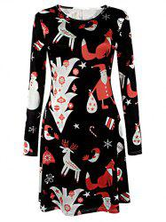 Knee Length Long Sleeve Christmas Tree Dress