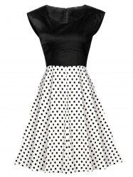 Vintage Polka Dot High Waist Dress - BLACK L