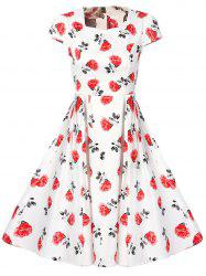 High Waist Floral Print Vintage Tea Dress - WHITE 2XL