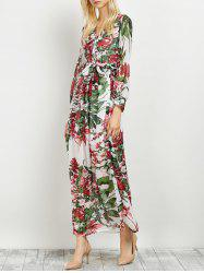V Neck Long Sleeved Chiffon Floral Hawaiian Maxi Dress