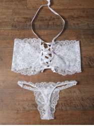 Unlined Bowknot Lace Wireless Bra and V String Panty