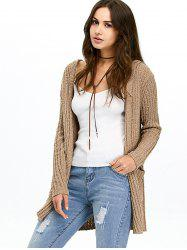 Hooded Ribbed Cardigan - BROWN
