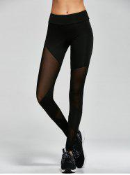 Mesh Insert Gym Sports Leggings - BLACK