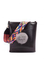 Pompon Colored Strap Shoulder Bag